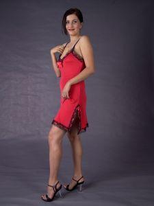 Nachthemd Seide Rot/Schwarz - Jersey mit Spitze und Spaghettiträger