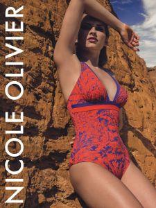 Träger Badeanzug Matou rot-lila von Nicole Olivier