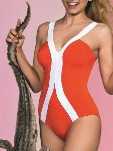 Leuchtend roter Badeanzug Manuela mit weißen Bändern von Nicole Olivier