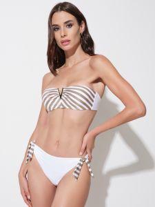 Bandeau Bikini Taormina weiß gold von Ritratti Mare