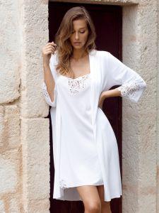Modal-Baumwolle Morgenmantel Carola weiß von Imec - das Nachthemd ist nicht im Lieferumfang enthalten