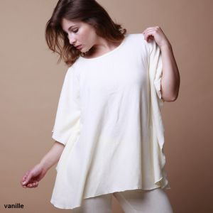 Baumwolle Bigshirt Poncho Casual Farbe vanille von Gattina