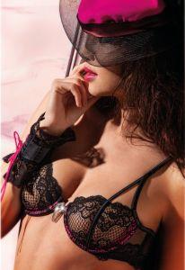Spitzen-BH Lili schwarz-pink von RCrescentini - Accessoires sind nicht im Lieferumfang enthalten
