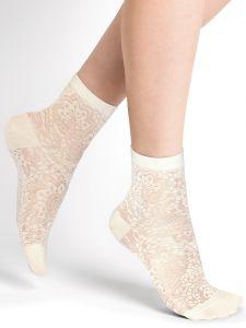 Damen Socken mit Blumenmuster aus 75% Seide in schnee von Bleuforêt