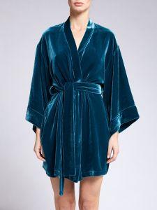 Seidensamt Kimono kurz in petrol von Vivis