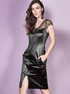 Samt Kleid mit Reißverschluss Aurora schwarz von Escora