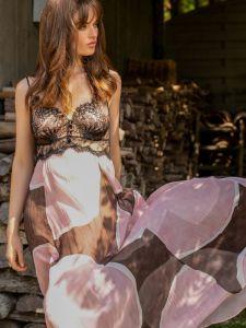 Langes Seidennachthemd Misha rosa-braun von Marjolaine