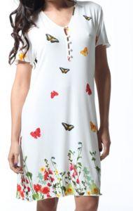 Kurzarm-Nachtkleid Florenz mit Schmetterlingen von Gattina