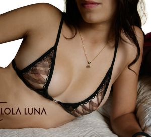Lola Luna BH Bombay Bra schwarz mit kaffe-braunem Taft