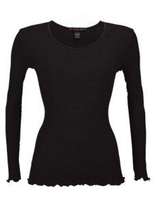 Merinowolle-Seide Langarm Shirt gerippt von Artimaglia schwarz