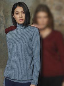 Merinowolle Seide Rollkragen Langarm Shirt breite Rippe blau von Oscalito
