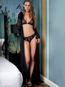 Morgenmantel Jasmine schwarz aus Modal von Imec - die Dessous sind nicht im Preis enthalten