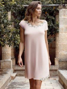 Kurzarm Nachtkleid Camilla zartrosa aus Modal von Imec