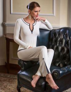 Modal Pyjama Jacaranda mit Hose Nerium champagner / schiefergrau von Cotton Club