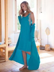 Modal Morgenmantel lang in türkis-grün von Chiara Fiorini - das Nachthemd ist nicht im Lieferumfang enthalten