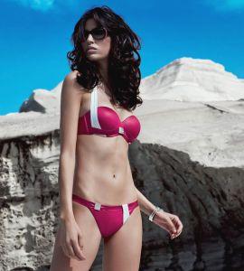 Neckholder Luna Bikini Sailor himbeer-rot mit Wet-Look Oberfläche