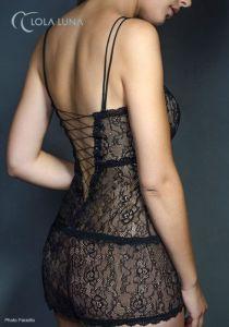 Lola Luna Negligé aus Spitze Liane Dress schwarz
