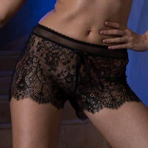 Shorts Laon aus schwarzer Spitze, Seide und Tüll von Cotton Club