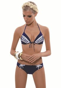Push-Up Bikini mit Schnürlook in navy-blau von Rebecca