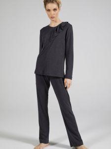 100% Baumwolle Pyjama WKND No. 6 anthrazit dunkelgrau von Verdiani Weekend