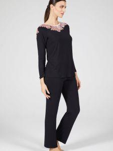 Modal Damen Schlafanzug schwarz-rosa von Verdiani Donna