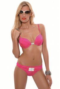 Rebecca Bikini Cyclone fuchsia-pink Push - Up mit Uhr-Schmuckelement
