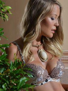 Seide Push Up BH Adriana goldsand mit cremeweißer Spitze von Millesia