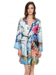 Kimono weiß bunt Seide Baumwolle mit Blumendruck von Gattina