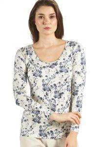 Seide + Bio-Baumwolle kbA Langarm-Shirt Zweige blau weiß von Kokon Zwo