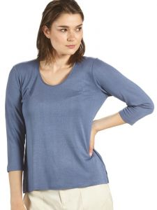 Seidenshirt Cinda No. 2 Seide Leinen 3/4-Arm Shirt rauchblau von Kokon Zwo