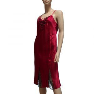100% Seide Nachthemd CORSET LACE rot von Luna di Seta