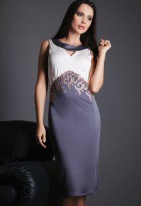 Nachtkleid knielang Palissandro antrazit aus Wirkseide von Gattina