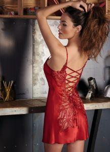 Seidennachthemd Soie Fantasie von Marjolaine in rouge
