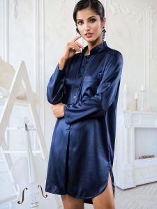 Seide Sleepshirt Poderosa in dunkelblau von Cotton Club