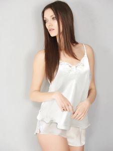 Seidentop Satin + Lace elfenbein weiß von Eva B. Bitzer - die Shorts ist nicht im Lieferumfang enthalten