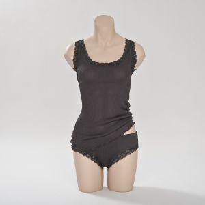 Seiden-Unterhemd Antrazit - Unterwäsche aus Seide von Gattina (Slip separat erhältlich)
