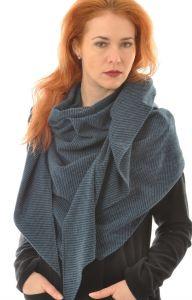 Seide Wolle Flanell Stola schwarz safirblau von Alkena