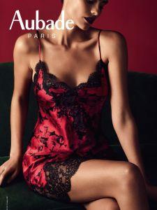 Seide Neglige Toi Mon Amour rot-schwarz Blumenmuster von Aubade