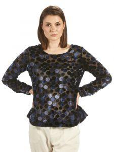 Seidensamt Ausbrenner Blusenshirt Samt schwarz blau von Kokon Zwo