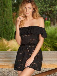 Sommerkleid aus Baumwolle Lochspitze Gladys schwarz von Marjolaine
