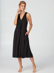 Strandkleid April Blooms schwarz lang von Donna Karan Sleepwear