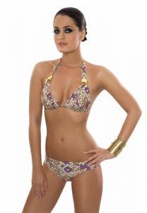 Animal-Print Triangel-Bikini schwarz-weiß-violett  Mermaid von Rebecca