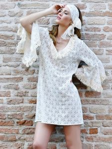 Tunika Ecru aus Baumwollspitze von Chiara Fiorini