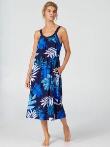 Viscose Kleid Escape blau lang von Donna Karan Sleepwear