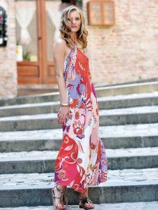 Viscose Sommerkleid lang Beere Rot von Chiara Fiorini