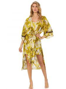 Viscose Morgenmantel gelb beige von DKNY Sleepwear