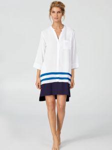 Viscose Sleepshirt weiß blau von Donna Karan Sleepwear