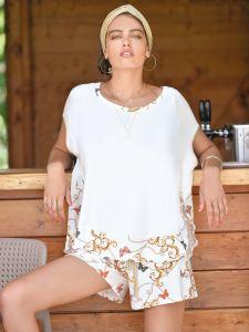 Sommer Pyjama Chains creme-gold aus Viscose Jersey von Fiori di Chiara