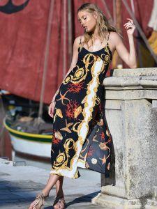 Viscose Sommerkleid lang Mare schwarz bunt von Chiara Fiorin