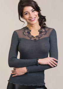 Wolle-Seide Langarmshirt Alena in schiefer-grau von Madiva
